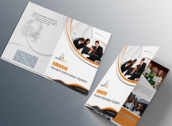Free Orange Business Trifold Brochure Template PSD TitanUI - Tri fold brochure psd template