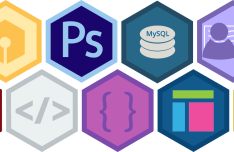 Flat Hexagon Skill Icons & Badges Vector