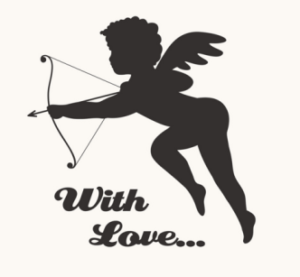 Cupid With Love Vector Silhouette