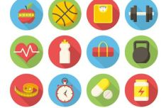 12 Flat Long Shadow Fitness Icons Vector