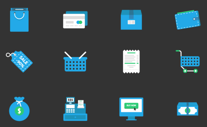 12 Flat Blue E-commerce Icons Vector