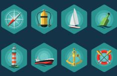 8 Flat Hexagon Sea Icons Vector