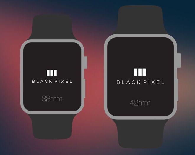 Flat Black Pixel Apple Watch PSD