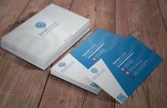 Blue Stripped Business Card Template PSD