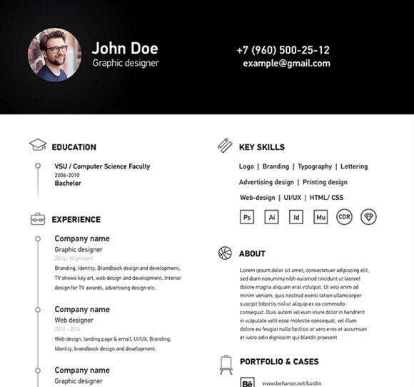 Simple Resume Format 2016: Free Simple Clean A4 Resume / CV Template Vector