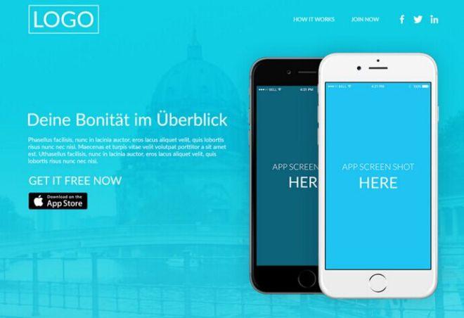 Minimal Blue App Landing Page PSD Template