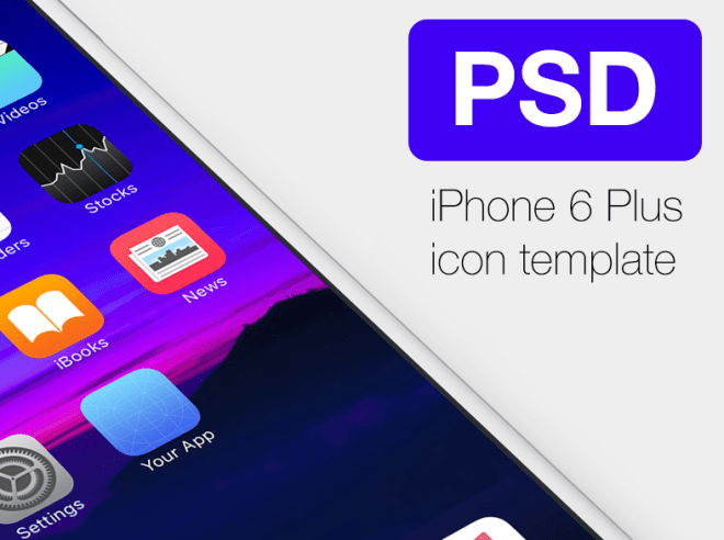 iPhone6 Plus iOS App Template PSD