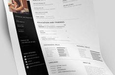 Minimal Clean Resume CV Template PSD