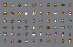 60 Food Fill Icons Vector