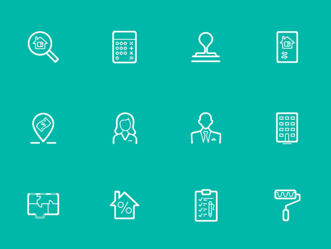13 Line & Fills Estate Icons PSD