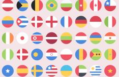 Flat Round Flag Icons PSD
