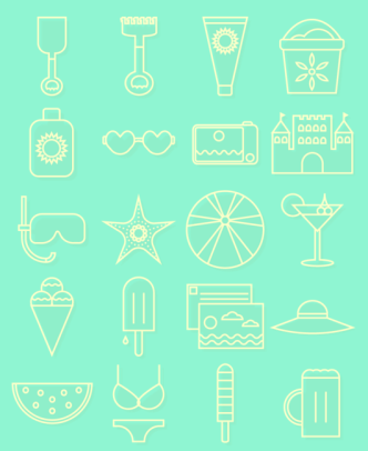 20 Summer Line Icons Vector
