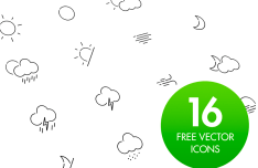 16 Weather Icons Vector