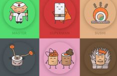 Cute Sushi Icon Set PSD