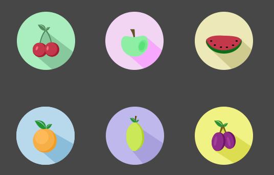 6 Super Flat Fruit Icons PSD