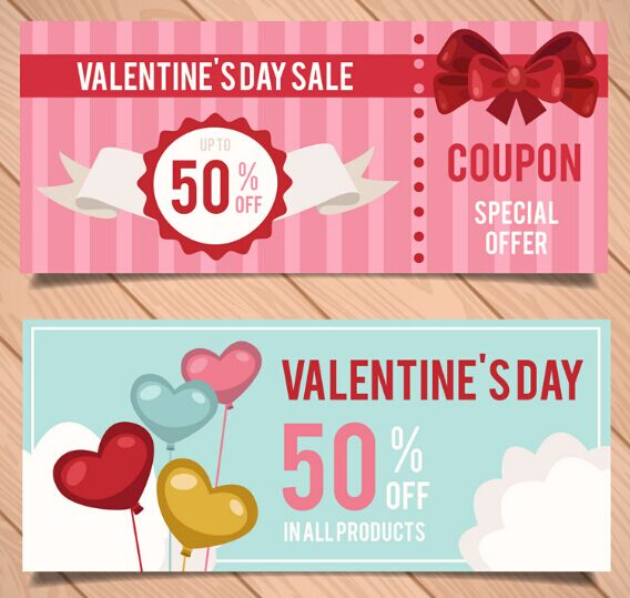 Valentine's Day Coupon Design Vector