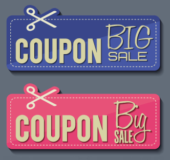 2 Big Sale Coupons Vector