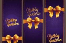 Violet Birthday Invitation Card Vector 05