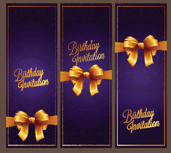 Violet Birthday Invitation Card Vector 05