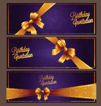 Violet Birthday Invitation Card Vector 06