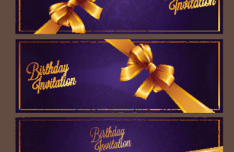 Violet Birthday Invitation Card Vector 06