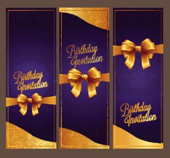 Violet Birthday Invitation Card Vector 07