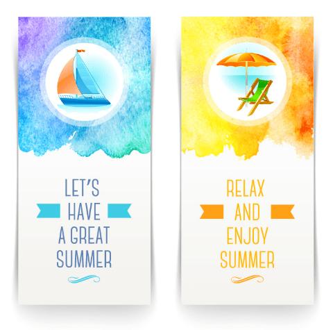 2 Elegant Summer Holiday Banners Vector VOL.2