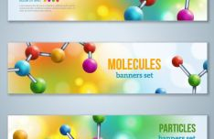 Chemistry Molecular Banner Set Vector #1