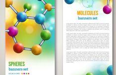 Chemistry Molecular Banner Set Vector #2