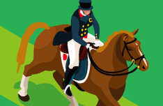 Flat Equestrian Dressage Vector Illustraion