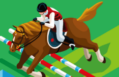 Flat Equestrian Eventing Vector Illustraion