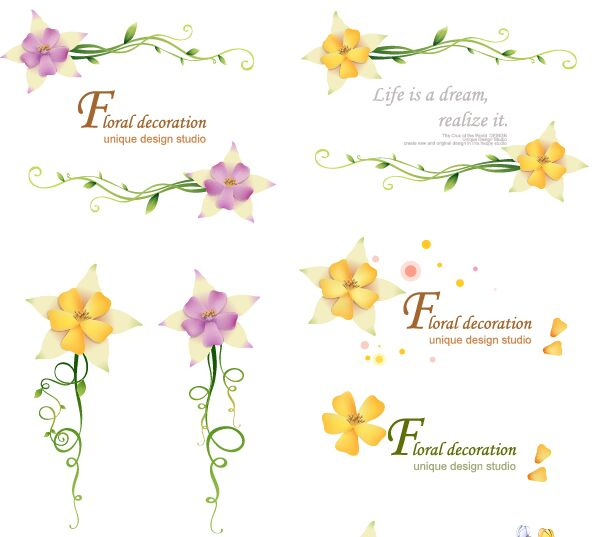 Floral Decoration Set Vector