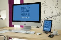 iMac and iPad Mockup On Deskp Mockup PSD