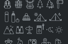 40+ Camping Icons Pack Vector