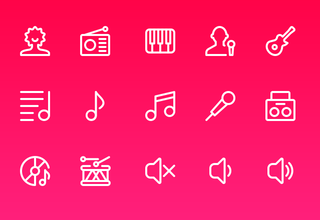 15 Music Line Icons PSD
