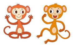 2 Cartoon Monkey Illustrations Vector