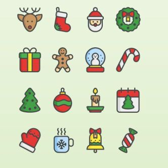 16-flat-christmas-icons-vector