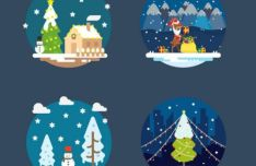 flat-merry-christmas-happy-new-year-vector-illustrations