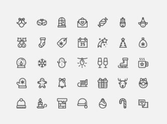 35-outlined-holiday-icons-vector