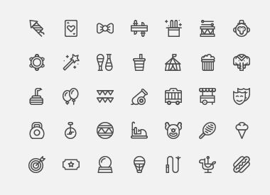 35-outline-circus-icons-vector