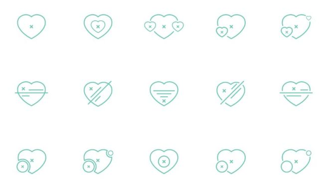 15-heart-line-icons-vector