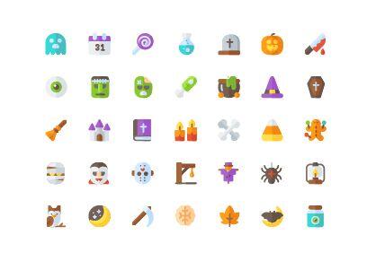 35 Flat Style Halloween Icons Vector