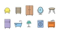 10 Furniture Line Icons