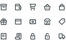 15 Simple E-Commerce Line Icons Vector