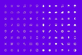 96 Minimal UI Line Icons Vector