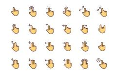 24 Touch Gesture Icons (AI+PNG+SVG)