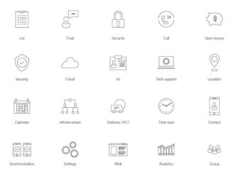 20 Vector Business Line Icons