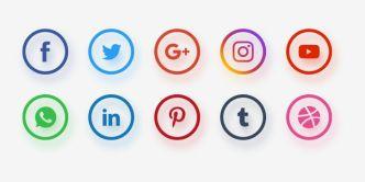 Circular Social Network Icon Set