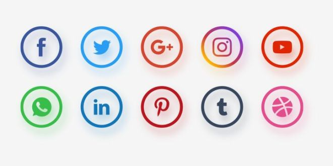 Circular Social Network Icon Set