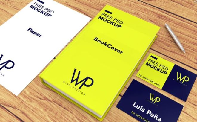 Realistic Book, Paper & Business Card Template PSD